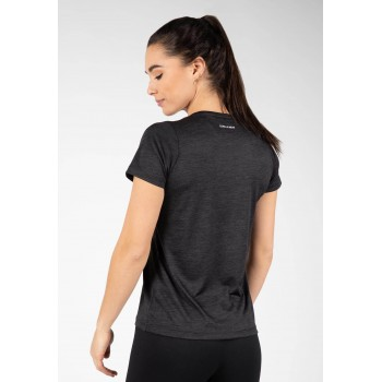 Elmira V-neck - czarna koszulka sportowa