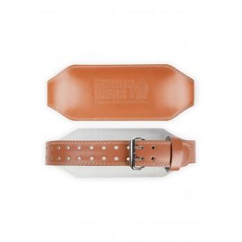 6 Inch Padded Leather Lifting Belt - brązowy skórzany pas kulturystyczny
