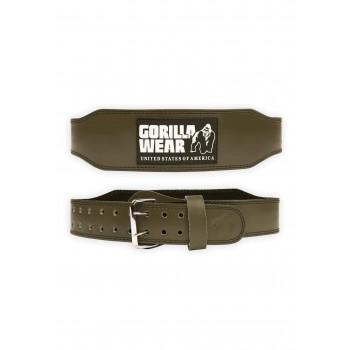 4 Inch Padded Leather Lifting Belt - zielony skórzany pas kulturystyczny z klamrą