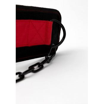 Nylon Dip Belt - czarno/czerwony pas do ćwiczeń