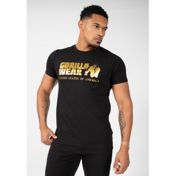 Classic T-shirt - czarno złota koszulka męska