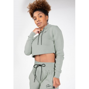 Pixley Crop Top Hoodie - zielona krótka bluza z długim rękawem
