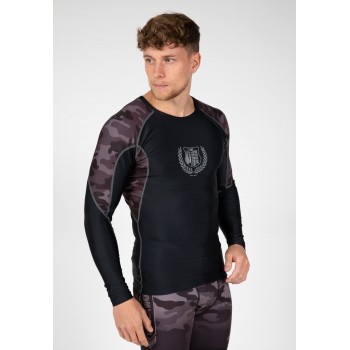 Lander Rashguard Long Sleeve, Black/Grey Camo