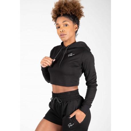 Pixley Crop Top Hoodie Czarna - Krótka bluza z długim rękawem